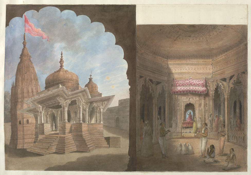 Exterior and interior views of a temple at Brindaban